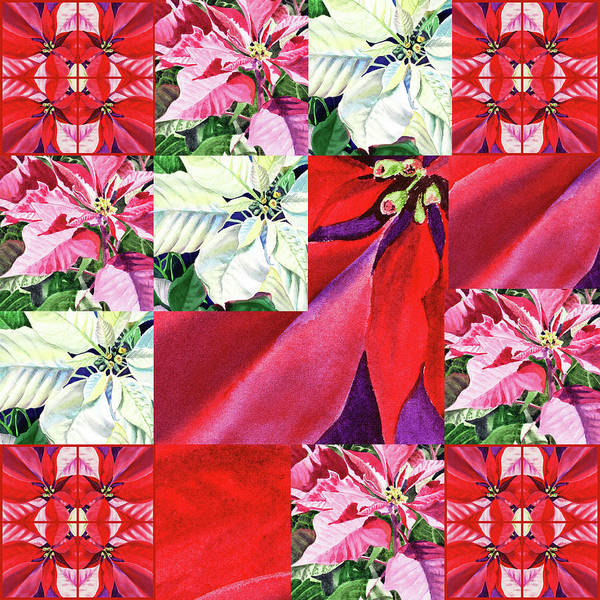 Wall Art - Painting - Poinsettia Christmas Quilt  by Irina Sztukowski