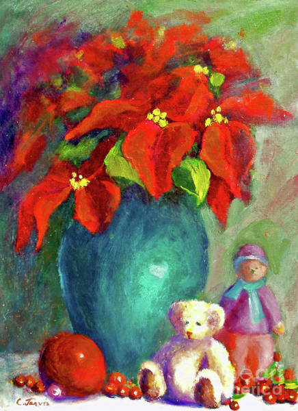 Painting - Poinsettia With Christmas Toys by Carolyn Jarvis