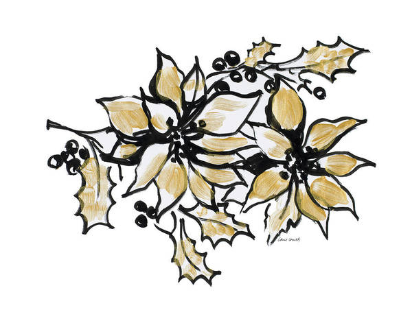Wall Art - Painting - Poinsettias With Gold II by Lanie Loreth