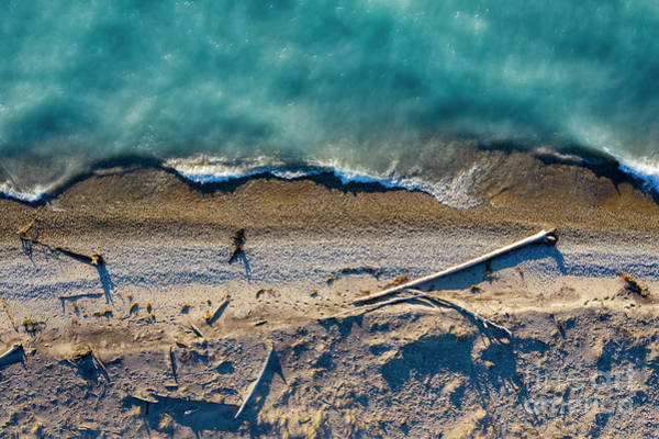 Download Photograph - Point Betsie Beach Aerial In Spring by Twenty Two North Photography