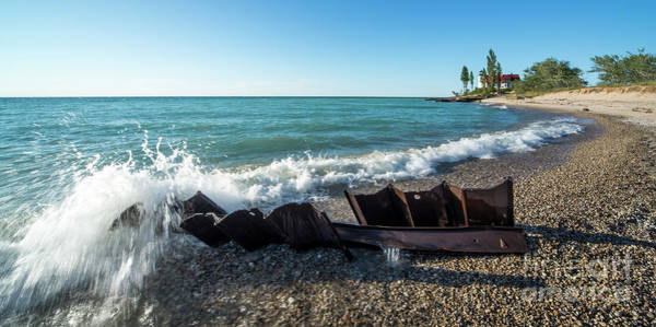 Wall Art - Photograph - Point Betsie Incoming Waves 2x1 Panorama by Twenty Two North Photography