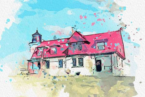 Wall Art - Painting - Point Betsie Lighthouse 2 -  Watercolor By Ahmet Asar by Ahmet Asar