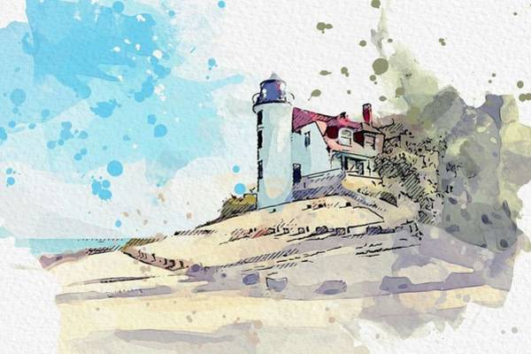 Wall Art - Painting - Point Betsie Lighthouse 3 -  Watercolor By Ahmet Asar by Ahmet Asar