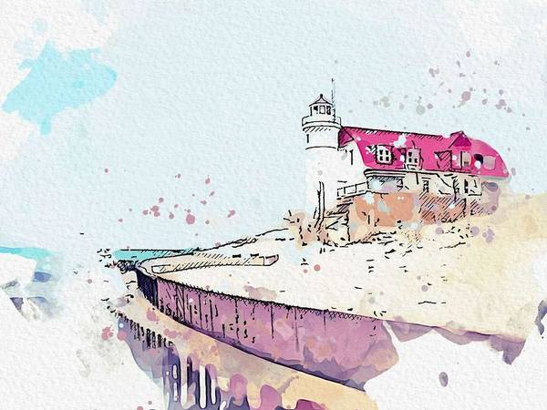 Wall Art - Painting - Point Betsie Lighthouse 4 -  Watercolor By Ahmet Asar by Ahmet Asar