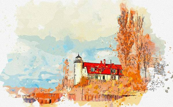 Wall Art - Painting - Point Betsie Lighthouse 5 -  Watercolor By Ahmet Asar by Ahmet Asar