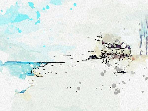 Wall Art - Painting - Point Betsie Lighthouse 6 -  Watercolor By Ahmet Asar by Ahmet Asar