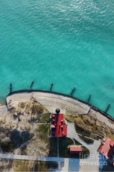 Download Photograph - Point Betsie Lighthouse Aerial by Twenty Two North Photography
