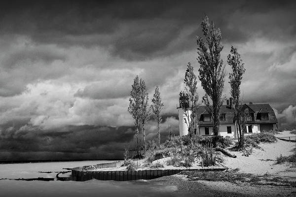 Photograph - Point Betsie Lighthouse In Black And White After A Storm On Lake by Randall Nyhof