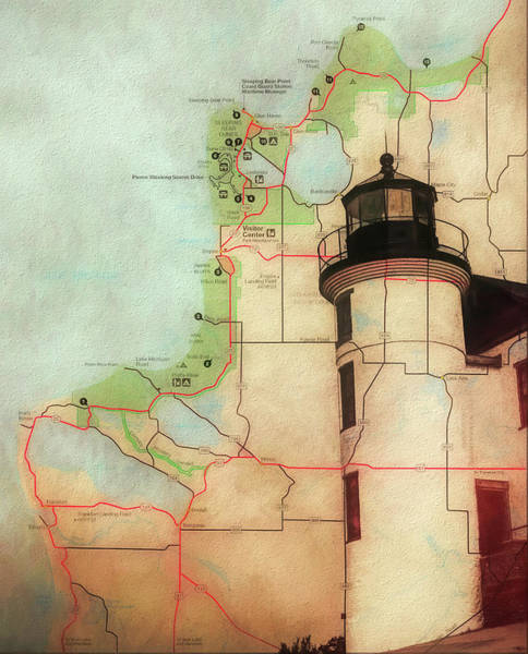 Wall Art - Mixed Media - Point Betsie Lighthouse Map by Dan Sproul