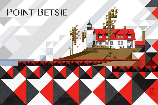 Lighthouses Digital Art - Point Betsie Lighthouse Michigan 2018_v4-final by Garth Glazier