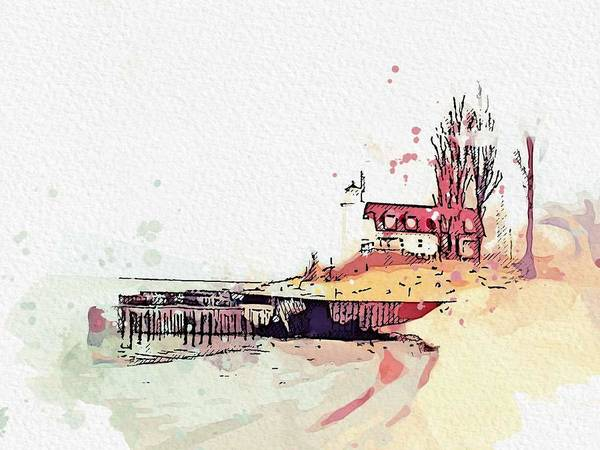 Wall Art - Painting - Point Betsie Lighthouse Michigan -  Watercolor By Ahmet Asar by Ahmet Asar