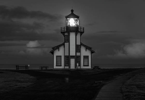 Photograph - Point Cabrillo Light Station - Bw - 1 by Jonathan Hansen