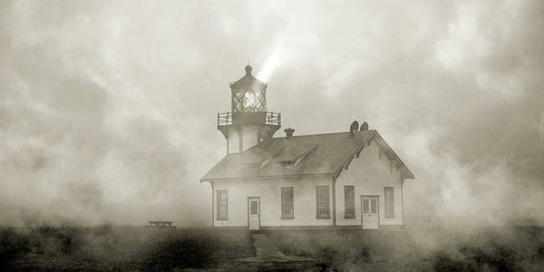 Fresnel Lens Wall Art - Photograph - Point Cabrillo Lighthouse California Sepia by Betsy Knapp