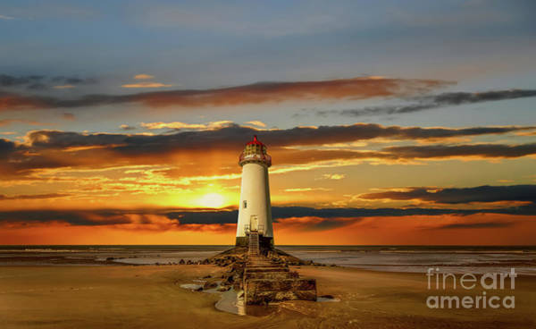 Wall Art - Photograph - Point Of Ayr Lighthouse Sunset by Adrian Evans