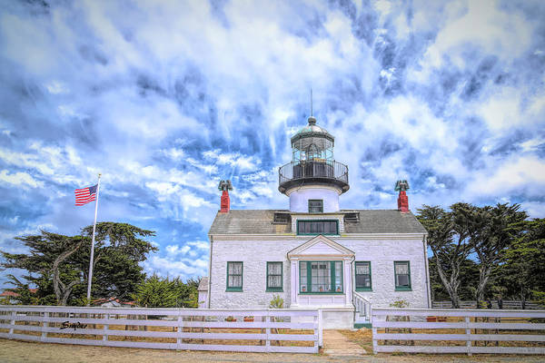 Photograph - Point Pinos Lighthouse Antiqued by Barbara Snyder
