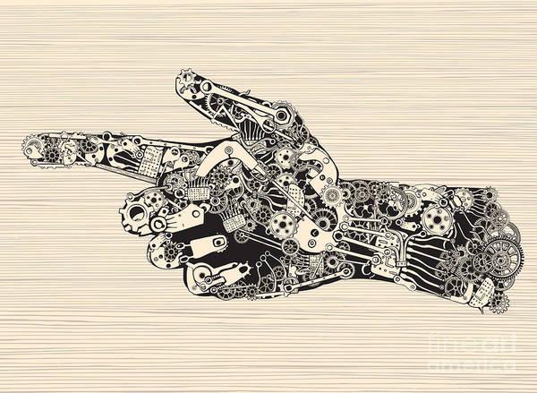 Ink Wall Art - Digital Art - Pointing Finger Mechanic Hand by Ryger