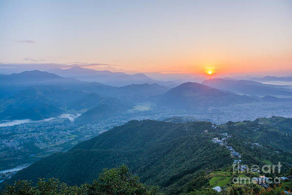 Wall Art - Photograph - Pokhara Sunrise At Sarangkot Hill With by Gunnar Van Eenige