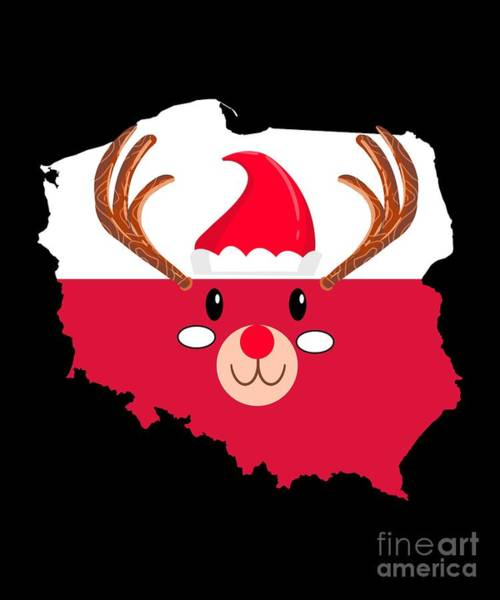 Ugly Digital Art - Poland Christmas Hat Antler Red Nose Reindeer by TeeQueen2603