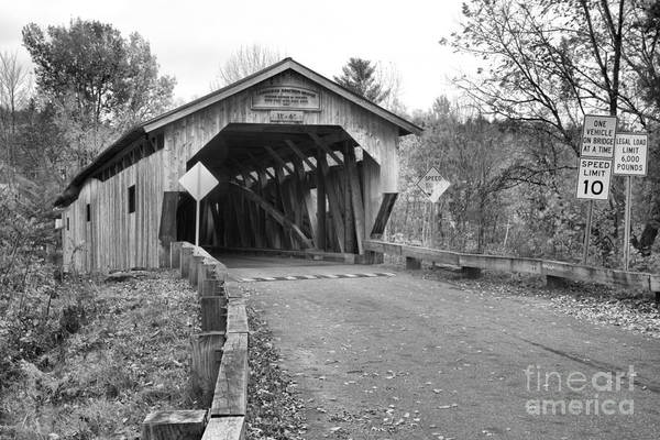 Photograph - Poland Covered Bridge Black And White by Adam Jewell