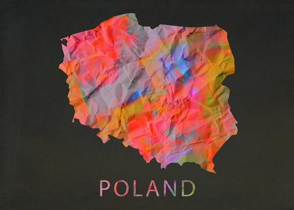 Wall Art - Photograph - Poland Tie Dye Country Map by Design Turnpike