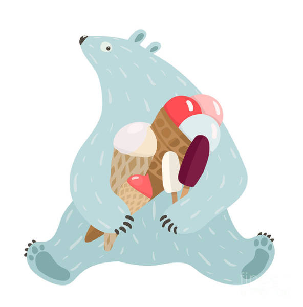 Wall Art - Digital Art - Polar Bear And Ice Cream. White Bear by Popmarleo