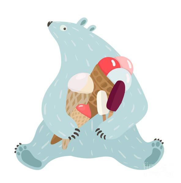 Arctic Wall Art - Digital Art - Polar Bear And Ice Cream. White Bear by Popmarleo