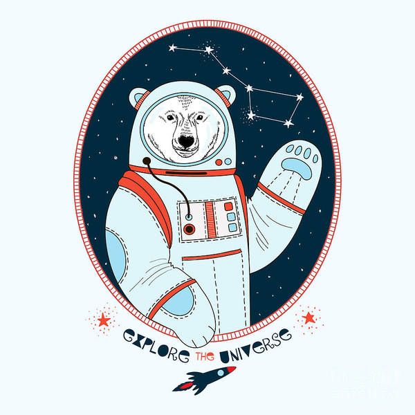 Cosmonaut Wall Art - Digital Art - Polar Bear Astronaut In Outer Space by Olga angelloz