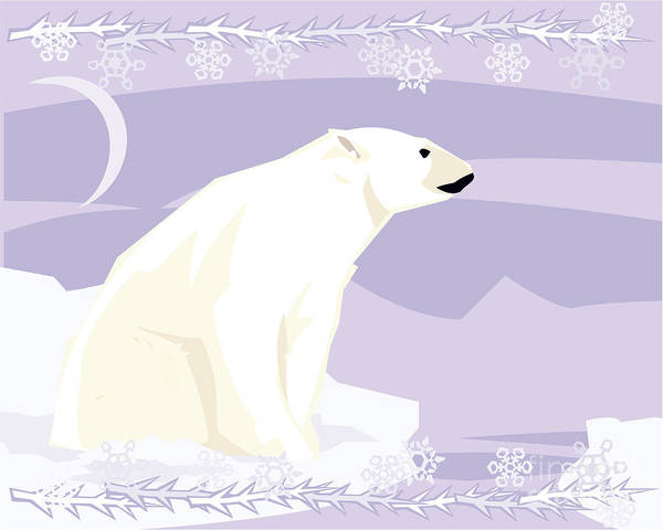 Polar Bear In A Decorative Illustration Art Print