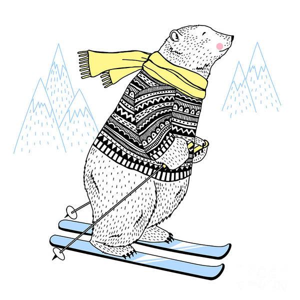 Appealing Wall Art - Digital Art - Polar Bear Skier, Decorative Animal by Olga angelloz