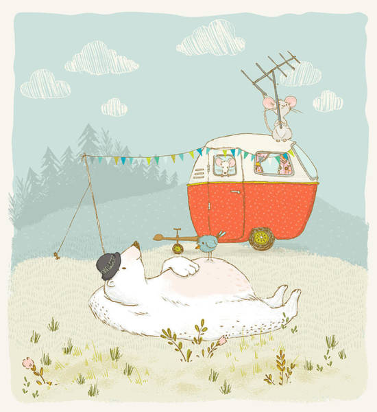 Wall Art - Digital Art - Polar Bear Vacation II by Amanda Lakey
