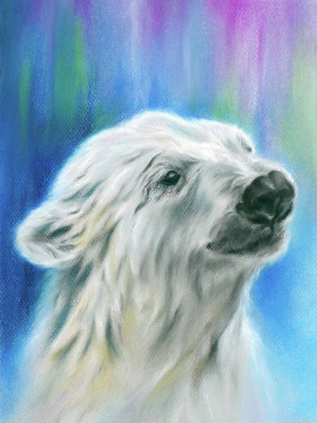 Pastel - Polar Bear With Aurora by MM Anderson