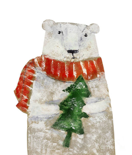Amusing Wall Art - Digital Art - Polar Bear With Christmas Tree. Hand by Super Cat