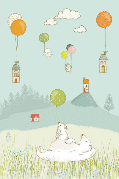 Painting - Polar Bears And Floating Houses Whimsical Art For Kids by Matthias Hauser