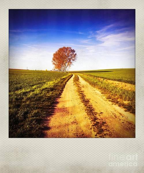 Wall Art - Photograph - Polaroid Effect Of A Rural Road In A Field by Bernard Jaubert