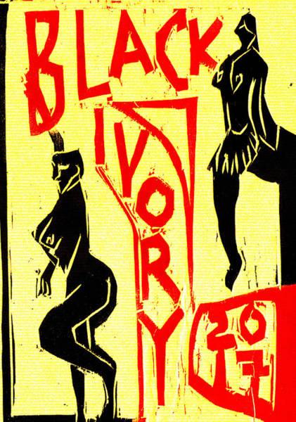 Digital Art - Pole Dancers Black Ivory Woodcut Poster 18 by Artist Dot