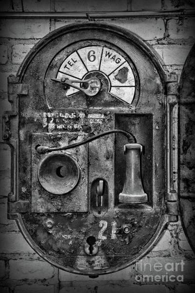 Wall Art - Photograph - Police-alarm Box-a Look Inside Black And White by Paul Ward