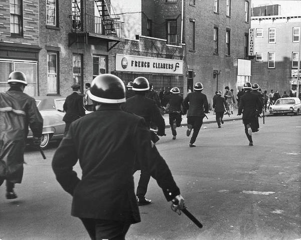Police Force Photograph - Police Cross Howard Ave, 1968 by Fred W. McDarrah