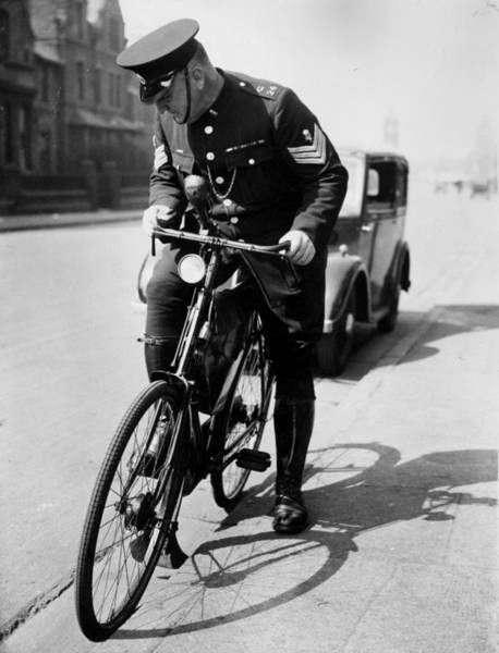 Police Force Photograph - Police Cyclist by J Smith