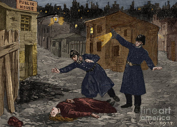 Wall Art - Drawing - Police Discover A Victim Of Jack The Ripper by French School
