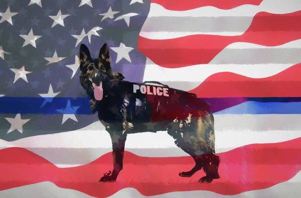 Wall Art - Mixed Media - Police Dog by Dan Sproul