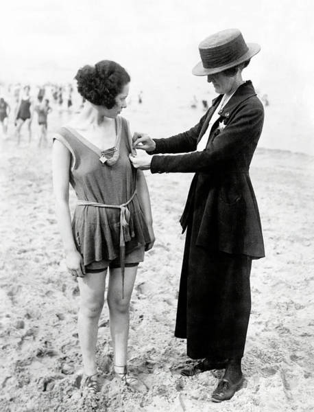 Wall Art - Photograph - Police Matron Checking Swimsuits 1920s by Daniel Hagerman