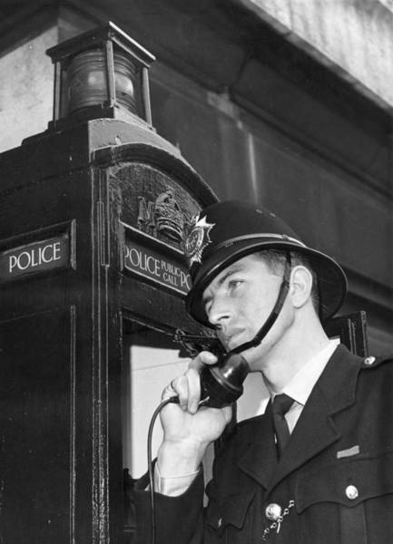 Police Force Photograph - Police Phone by Fox Photos