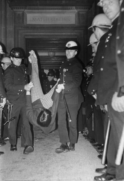 Campus Photograph - Police Remove Student Demonstrators by Fred W. McDarrah