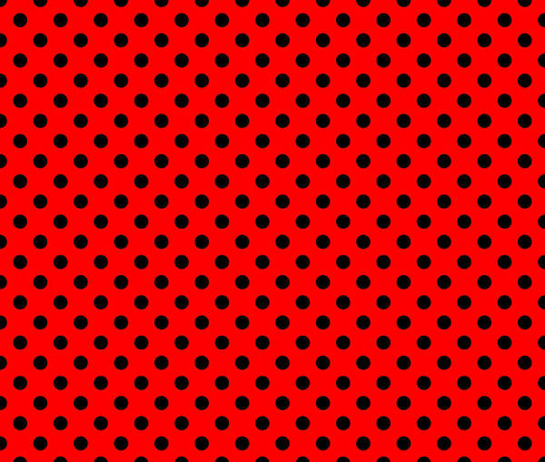 Wall Art - Digital Art - Polka Dot Black On Red by Filip Hellman