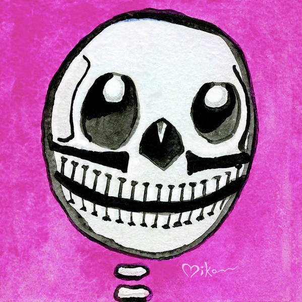 Wall Art - Painting - Pollito Sugarskull Of Cuteness by Miko Zen