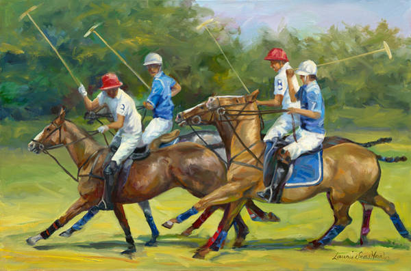 Polo Wall Art - Painting - Polo Foursome by Laurie Snow Hein