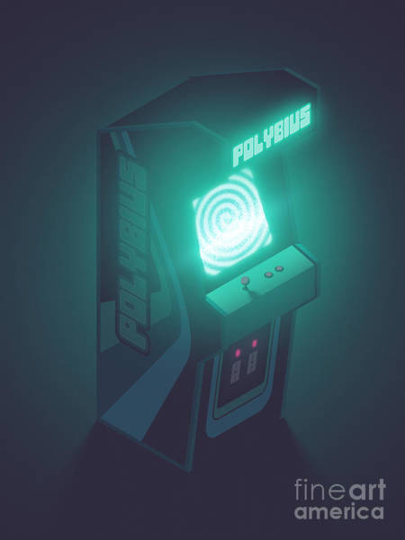 Legend Digital Art - Polybius Arcade Game Machine Cabinet - Isometric Black by Ivan Krpan