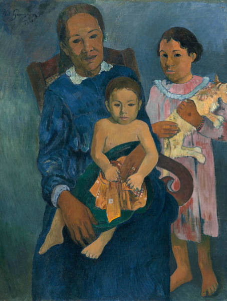 Wall Art - Painting - Polynesian Woman With Children by Paul Gauguin