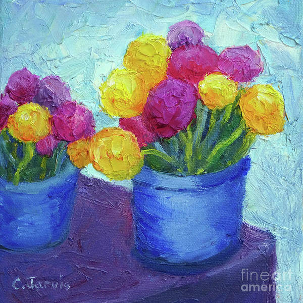 Painting - Pom Pom Flowers by Carolyn Jarvis