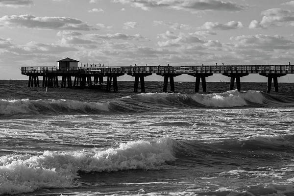 Photograph - Pompano Beach Fishing Pier At Sunrise Florida Sunrise Waves Black And White by Toby McGuire